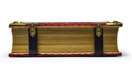 Den stängda och låsta röda läderboken med förgyllda pappers- kanter fångade isolerat royaltyfri bild