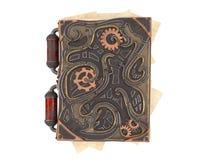 Den stängda steampunkboken med järn sätter in på isolerad vit bakgrund illustration 3d Arkivfoto