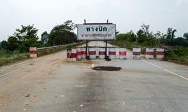 Den stängda vägen undertecknar in Thailand arkivfoto
