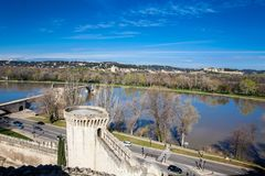 Den stärkte staden av Avignon Frankrike Royaltyfri Bild