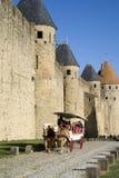 Den stärkte staden av Carcassonne Arkivbilder