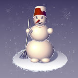 Den stående snögubben med kvasten i en hand Royaltyfri Foto