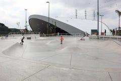 Den största skridskon parkerar det offentliga spåret för det halva röret i världen Royaltyfri Foto