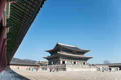 Den största slotten som byggs i den Joseon dynastin i Korea Byggnader som symboliserar den Joseon kungafamiljen Royaltyfri Fotografi