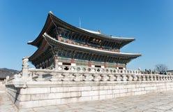 Den största slotten som byggs i den Joseon dynastin i Korea Byggnader som symboliserar den Joseon kungafamiljen Arkivfoto