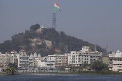 Den största tricolour nationsflaggan i världen som hissas i Ranchi Arkivfoto
