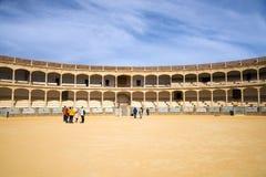 Den st?rsta och mest ber?mda spanska tjurf?ktningsarenan ?r plazaen de Toros Hemland av den spanska bullfightingen royaltyfria bilder