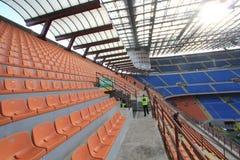 Den Stadio Giuseppe Meazza stadion i Milan, Italien Arkivbild