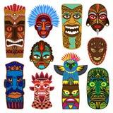 Den stam- maskeringsvektorn som maskerar etnisk kultur och den aztec uppsättningen för framsidamasqueillustration av den traditio royaltyfri illustrationer