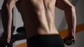 Den starka kraftiga mannen övar för bröst- muskler och triceps med dopp Närbild lättnad av kroppen arkivfilmer