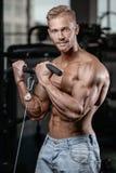 Den starka och stiliga idrotts- unga mannen tränga sig in abs och biceps Royaltyfri Bild
