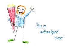 Den startande skolan med barnets teckning och text är jag en skolflicka n Royaltyfria Foton