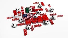 Den statiska sikten av flera 2026 designer med USA mexikan- och kanadensareflaggor med någon fotboll klumpa ihop sig royaltyfri illustrationer