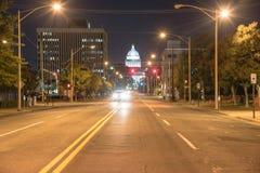 Den statliga Kapitolium av Arkansas beskådar nigh fotografering för bildbyråer