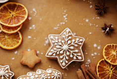 den stekheta moonen för julkakahjärta shapes stjärnan Royaltyfri Foto