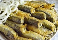 Den stekte fisknors ligger på en maträtt med högg av lökar Royaltyfri Foto
