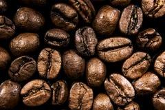 Den stekte kaffekornmakroen är på en svart bakgrund Royaltyfri Foto