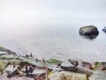 Den steniga kusten trotsar till havfrikändhimmel med den suddiga solen i hög fuktighet royaltyfri foto