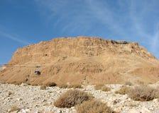 Den steniga platån i den Judean öknen kallade Masada, Israel royaltyfri fotografi