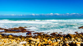 Den steniga shorelinen av Atlanticet Ocean mellan udde av bra hopp och Platboom sätter på land Royaltyfri Foto