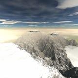 Den steniga terrängen i vintern Arkivfoton
