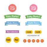 Den stilfulla uppsättningen av logoer, symboler och klistermärkear för ungar shoppar eller behandla som ett barn marknaden Royaltyfria Foton