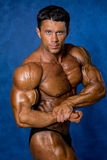 Den stiliga muskulösa kroppsbyggaren visar hans muskler Arkivbild