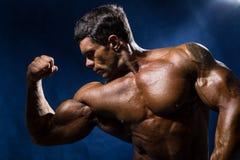 Den stiliga muskulösa kroppsbyggaren visar hans muskler Royaltyfri Fotografi