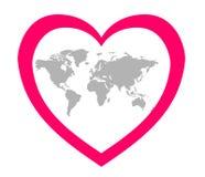 Den stiliserade bilden av kontinenterna i mitten av en rosa hjärta Royaltyfria Bilder