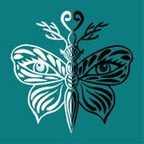 Den stiliserade fjärilsvektorn, den härliga fantasifjärilen med hjorthorn på kronhjort och mänskliga ögon på dess vingar räcker u Royaltyfria Bilder