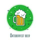 Den stiliserade logoen för Oktoberfest med öl rånar Tunn linje lägenhetdesign randig vektor för bakgrundskortprelambulator Royaltyfri Bild