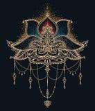 Den stiliserade lotusblommablomman i indisk stil, kan användas för tatuering eller mehndi Royaltyfria Bilder