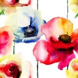 Den stiliserade vallmo och steg blommaillustrationen Royaltyfri Bild