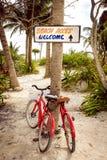 Den stillsamma platsen med två cyklar, strand och gömma i handflatan royaltyfri foto