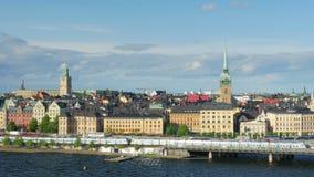 Den Stockholm sikten, Sverige, timelapse, zoomar in, 4k stock video