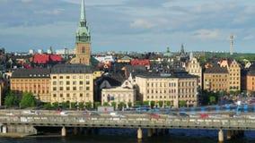 Den Stockholm sikten, Sverige, timelapse, zoomar in, 4k arkivfilmer