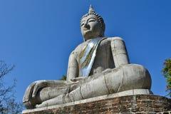Den stora Buddha statyn och blåttskyen Arkivfoto