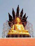 Den stora Buddhastatyn täckas med den svarta draken Arkivbild