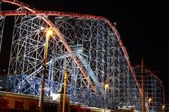 Den stora en rollercoasteren på Blackpool, UK Arkivfoton