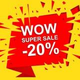 Den stora försäljningsaffischen med ÖVERRASKAR TOPPNA SALE NEGATIV 20 PROCENT text Advertizingvektorbaner Arkivbild