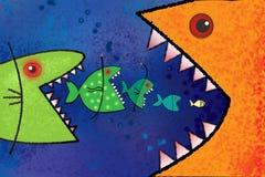 Den stora fisken äter den lilla fisken. Arkivfoton