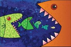 Den stora fisken äter den lilla fisken. Vektor Illustrationer