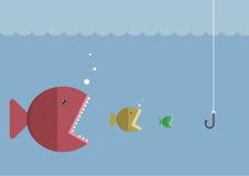 Den stora fisken äter den lilla fisken Arkivbilder
