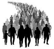 Den stora folkmassan av folk flyttar sig Konturvektor royaltyfri illustrationer
