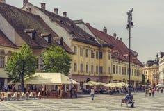 Den stora fyrkanten, Sibiu, Rumänien Arkivbilder