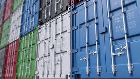 Den stora gården för lastbehållaren, blir grund fokusen Modern logistik framförande 3d Royaltyfria Bilder