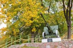 Den stora gamla kanonen parkerar in, Korosten, Ukraina Arkivfoton