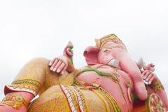 Den stora Ganeshaen på vit bakgrund, Wat Saman Rattanaram, Tha Fotografering för Bildbyråer