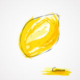 Den stora gula citronen ligger på en blå platta på en gul bakgrund Royaltyfria Bilder