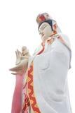 Den stora härliga gudinnan av förskoning (guan yin) på den vita backgroen Arkivbilder
